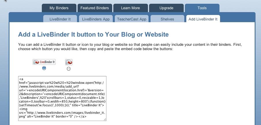 Showing Tools > Add LiveBinder It
