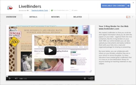LiveBinders at the Chrome App Store