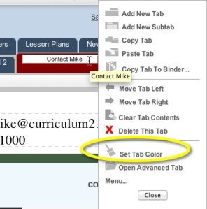 Th set tab color from the tab menu
