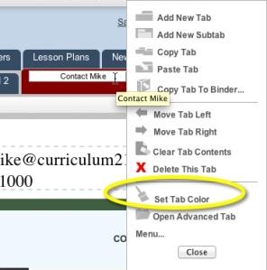 Th set tab color from the tab menu