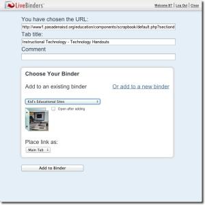 LiveBinder It pop-up
