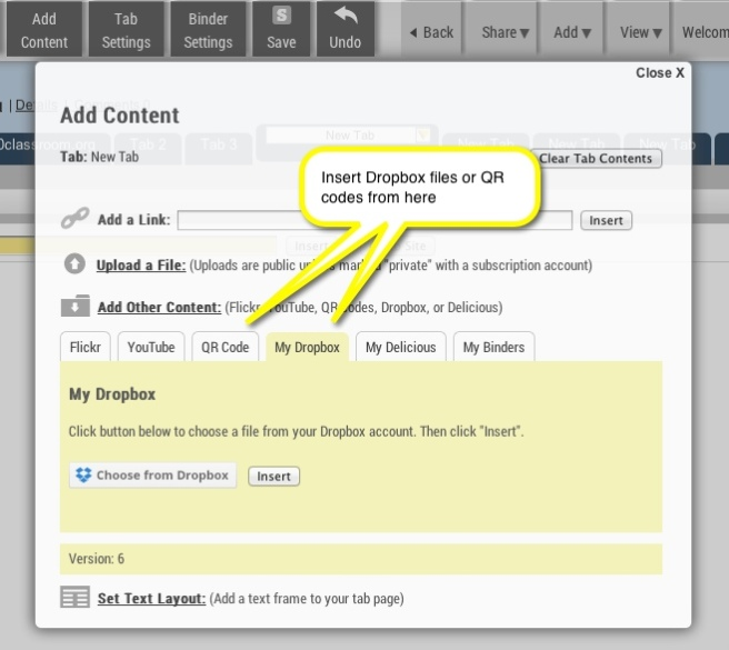 """Adding Dropbox and QR codes from the """"Add Content"""" menu"""