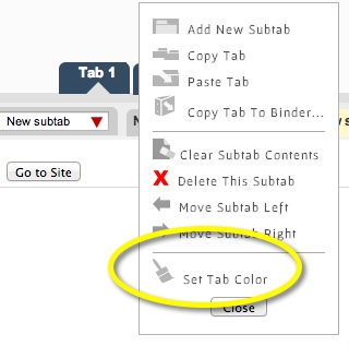 Drop down on tab for selecting color