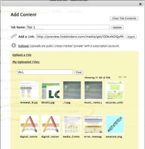 Screenshot of uploaded files