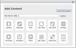 Add content menu