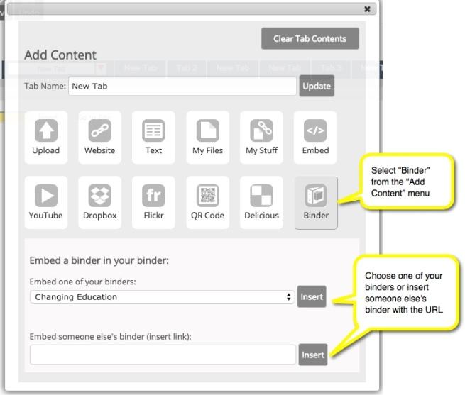 Add content menu showing binder embed